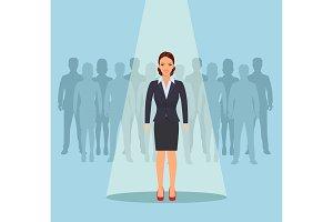 Businesswoman standing in spotlight