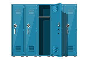 Blue metal cabinets.