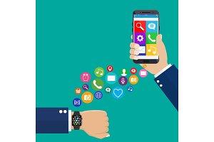 Smart watch smartphone synchro