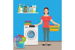 Woman housewife washes clothes