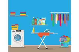 Laundry room with washing machine,