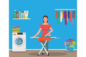 Happy young attractive woman ironing