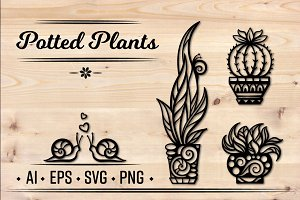 Potted plants set