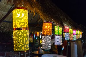 Multi-colored lanterns in the