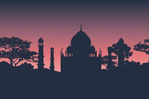 Silhouette of the Taj Mahal vector