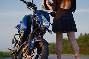 Stylish girl and Motorcycle