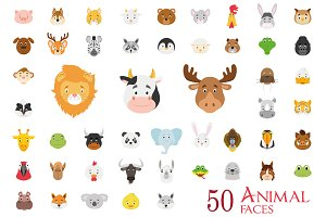 50 Animal Faces in Cartoon Style