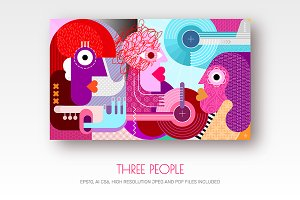 Three People vector illustration