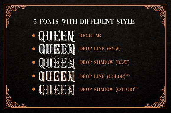 Gold Queen Vintage Font in Tattoo Fonts - product preview 2