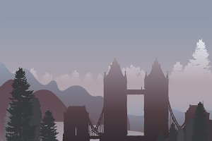 The Tower Bridge in a forest vector