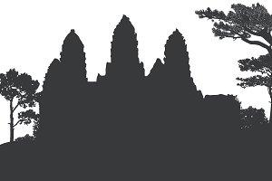 Angkor Wat temple silhouette vector