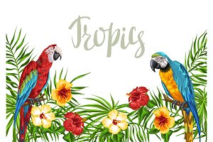 Tropical background with parrots.