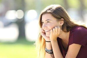 Happy teenager looking forward