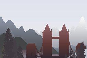 The London Bridge silhouette vector