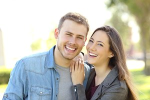 Couple posing with perfect smile