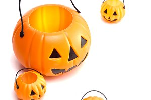 plastic jack-o-lantern on white