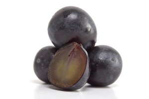 Fresh black grapes on white