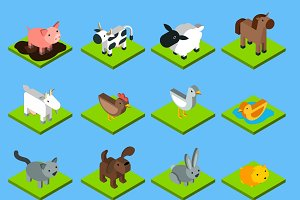 Isometric animals set