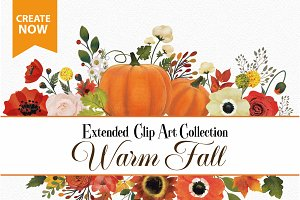 Fall Clip Art, Pumpkin,Floral Art