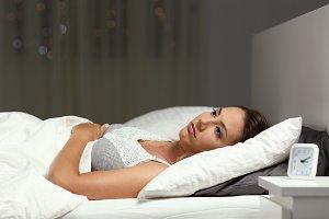 Insomniac woman unable to sleep