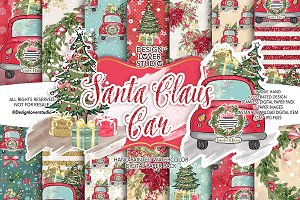 Santa Claus Car digital paper