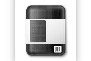 Empty black food tray isolated