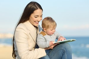 Mom teaching and baby learning