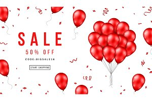 Sale Banner with Red Balloons