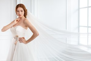 Bride in white wedding dress with