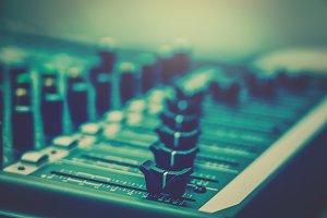 Closeup some part of audio mixer