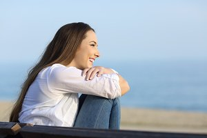 Relaxed woman looking at horizon