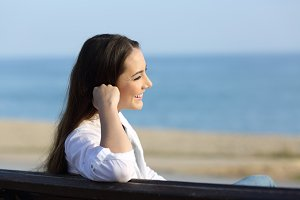 Relaxed woman contemplating outdoor