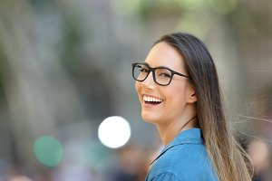 Pretty woman wearing eyeglasses