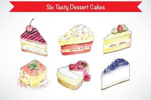 Watercolor Dessert Cakes