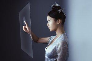 Future concept. Young pretty asian