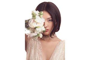 Bride. Asian female with wedding
