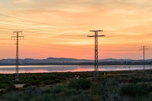 High voltage power lines at sunset V