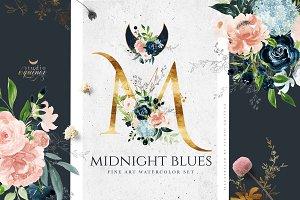 MIDNIGHT BLUES - Fine Art Watercolor