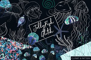 Jelly Fish Clipart and Patterns