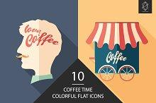 Coffee time flat icon set