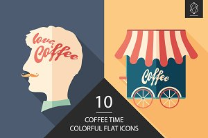 Coffee time flat icon set