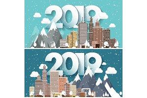 Vector illustration. 2019 winter