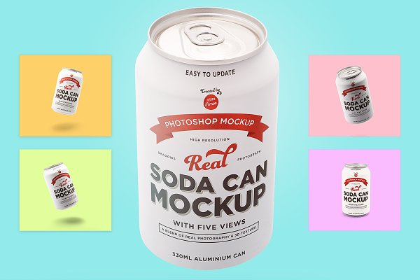 Product Mockups: It's me simon - Soda can mockup with 5 awesome views