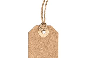 Brown recycled paper tag isolated
