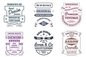 Denim typography emblems
