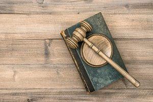 Judges gavel soundboard old book woo
