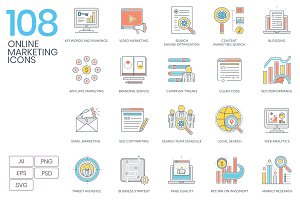 Online Marketing Color Line Icons