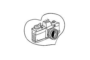 Vintage 35mm SLR Camera Heart Drawin