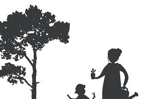Mother and son gardening vector