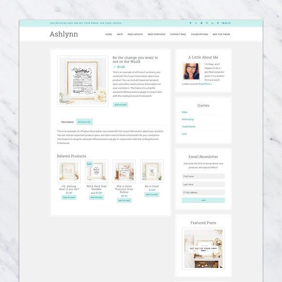 a53136337 Ashlynn // Genesis eCommerce Theme ~ WordPress Commerce Themes ~ Creative  Market